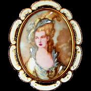 Large Porcelain Portrait Victorian Lady Signed TLM Made in England Vintage Pin, Pendant