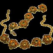 Gold Over Brass Vintage Open Roses Necklace & Bracelet Set