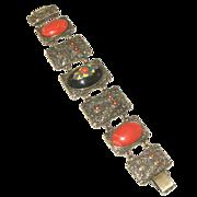 Large Elaborate Catalin, French Bakelite & Enamel Vintage Link Sculptured Extra Wide Bracelet