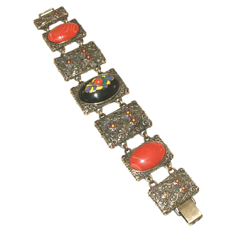 Large Elaborate Catalin, French Bakelite & Enamel Vintage Link Sculptured Extra Wide Bracelet