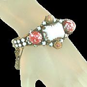Pink Speckled, Encased Gold Flecked & White Carved Glass Chunky Vintage Hinged Bangle