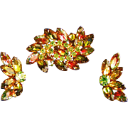 Juliana Watermelon & Peridot Prong Set Rhinestone Pin Earrings Set, c.1960