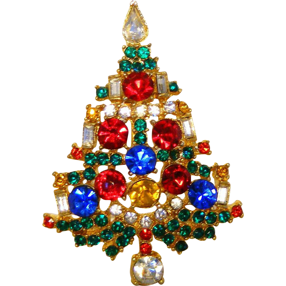 weiss signed vintage rhinestone christmas tree pin sold on. Black Bedroom Furniture Sets. Home Design Ideas