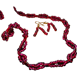 Garnet Woven Bead & Carved Tubes Vintage Necklace & Matching Pierced Earrings