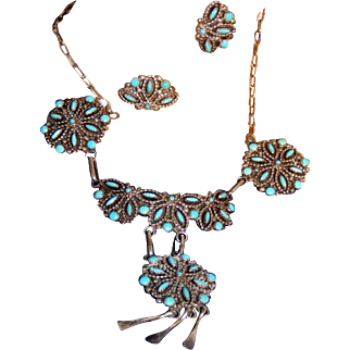 Zuni Signed Vintage Petti Point Sterling Silver & Turquoise Necklace & Earrings