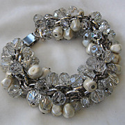 Heavy Vintage Crystals & Glass Pearls Dangle Bracelet