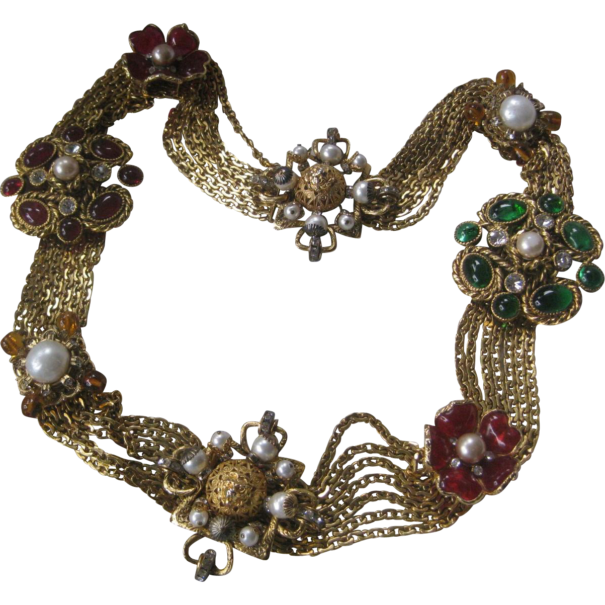 CHANEL Poured Glass & Pearls & Rhinestones Gorgeous Vintage Runway Belt
