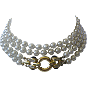 Very Long Double Strand Heavy Glass Pearls With Beautiful Beautiful Cabochons Design