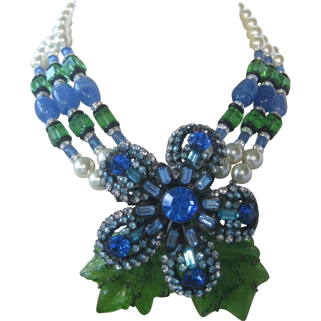 VRBA Large Molded Glass Flower & Pearls Convertible Necklace