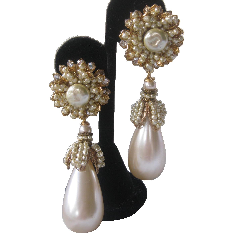 Lawrence VRBA Large Clustered Pearls & Huge Pearl Drop Earrings