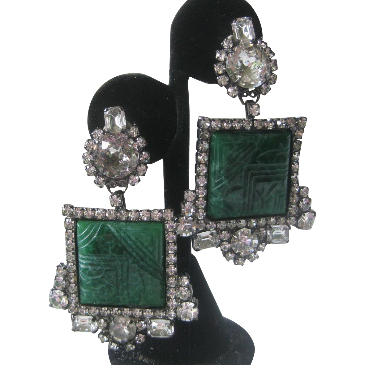Large Art Deco Carved Glass & Rhinestones Designer 1 Of A Kind Earrings