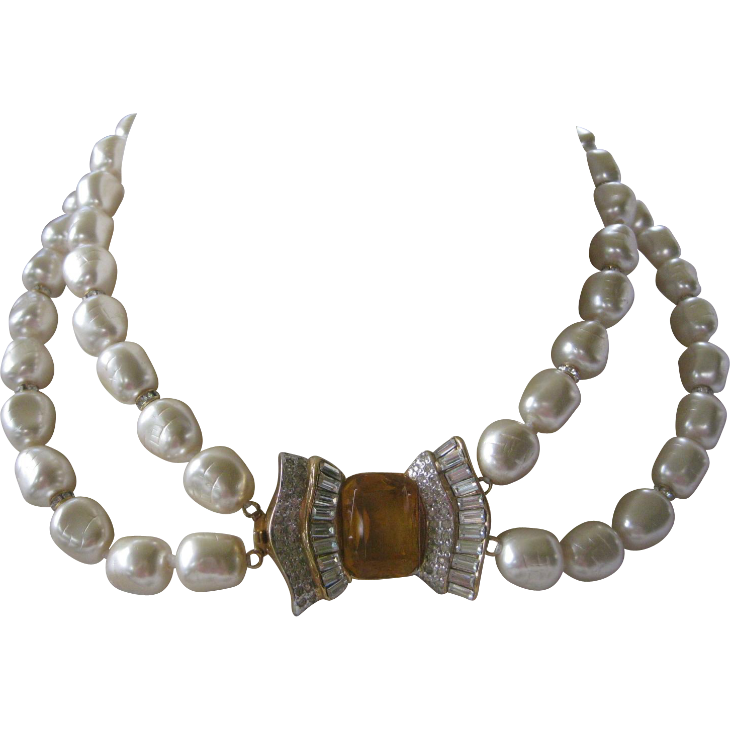 VOGUE BIJOUX Heavy Vintage Pearls & Citrine Glass & Rhinestones Centerpiece Necklace