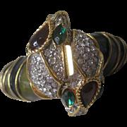 K.J.L. Rhinestones & Enamel Entwined Kenneth Lane Snake Heads Cuff Bracelet