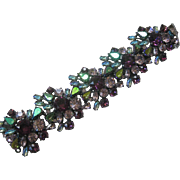 SCHIAPERELLI Large Glass Stones Clusters Super Wide Gorgeous Bracelet