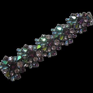 SCHIAPERELLI Large Glass Stones Clusters Super Wide Gorgeous Bracelet