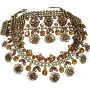 Austria Shades Of Citrine Glass Stones Large Bib Necklace & Wide Cuff Bracelet Set