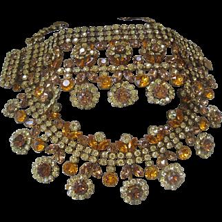 Austria Shades Of Citrine Glass Stones Large Bib Necklace & Wide Cuff Bracelet Set