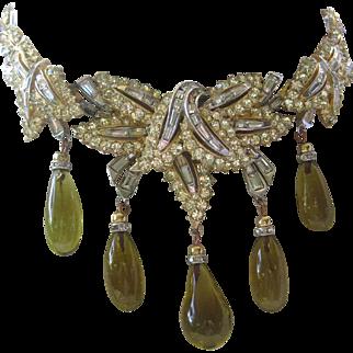 BOUCHER Glass Drops & Rhinestones Large Vintage Bib Necklace