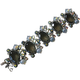 SCHIAPARELL Large Smoke Glass Stones & Opalescent Glass Large Cluster Wide Bracelet