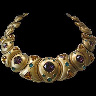 NAPIER Gorgeous Gold Tone & Glass Stones Large Bib Necklace