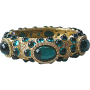 PAULINE RADER Green Glass & Rhinestones Vintage Cuff Bracelet