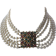 CINER Heavy 6 Strands Glass Pearls Glass Cabochons & Rhinestones Large Centerpiece Necklace