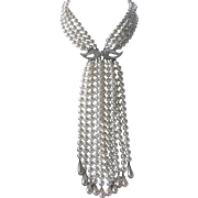 Super Long Vintage Pearls & Rhinestones Stunning Huge Statement Necklace