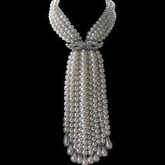 Super Long Vintage Pearls & Rhinestones Stunning Huge Statement Necklace
