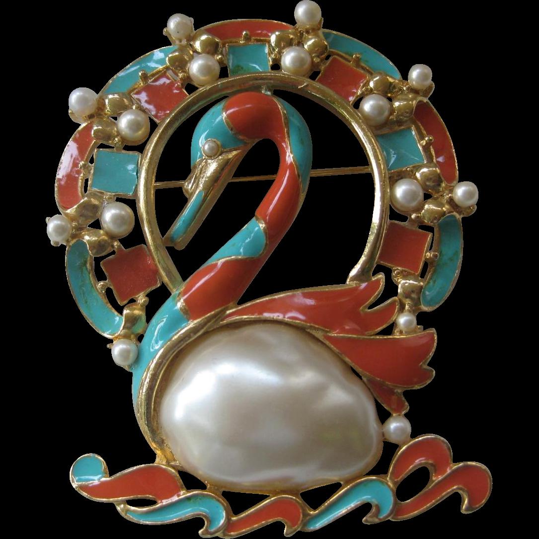 Unsigned Hattie Carnegie Large Enamel Pearl Belly Swan Pin Brooch