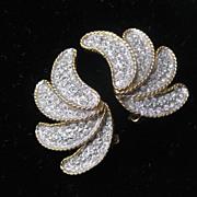 K.J.L Beautiful Rhinestone Covered Fanning Earrings
