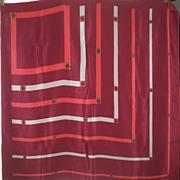 "SALVARORE FERRAGAMO 35"" Burgandy Silk Hand Turned Vintage Scarf"