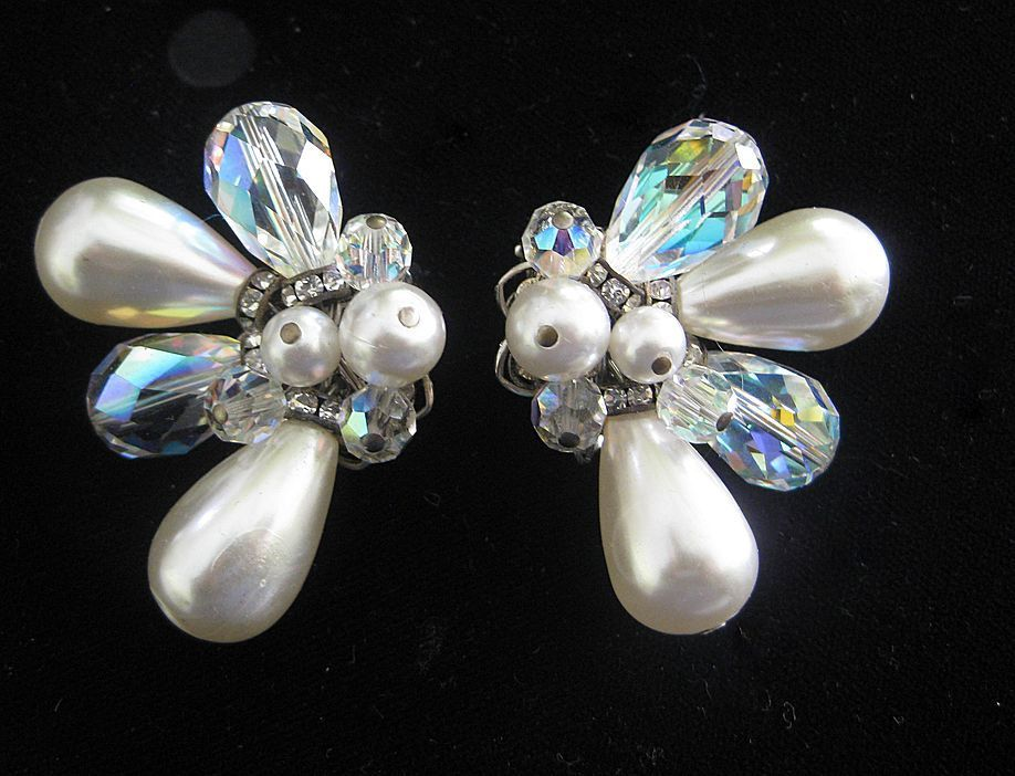 Alice Caviness Stunning Rhinestones & Pearls Cluster Earrings