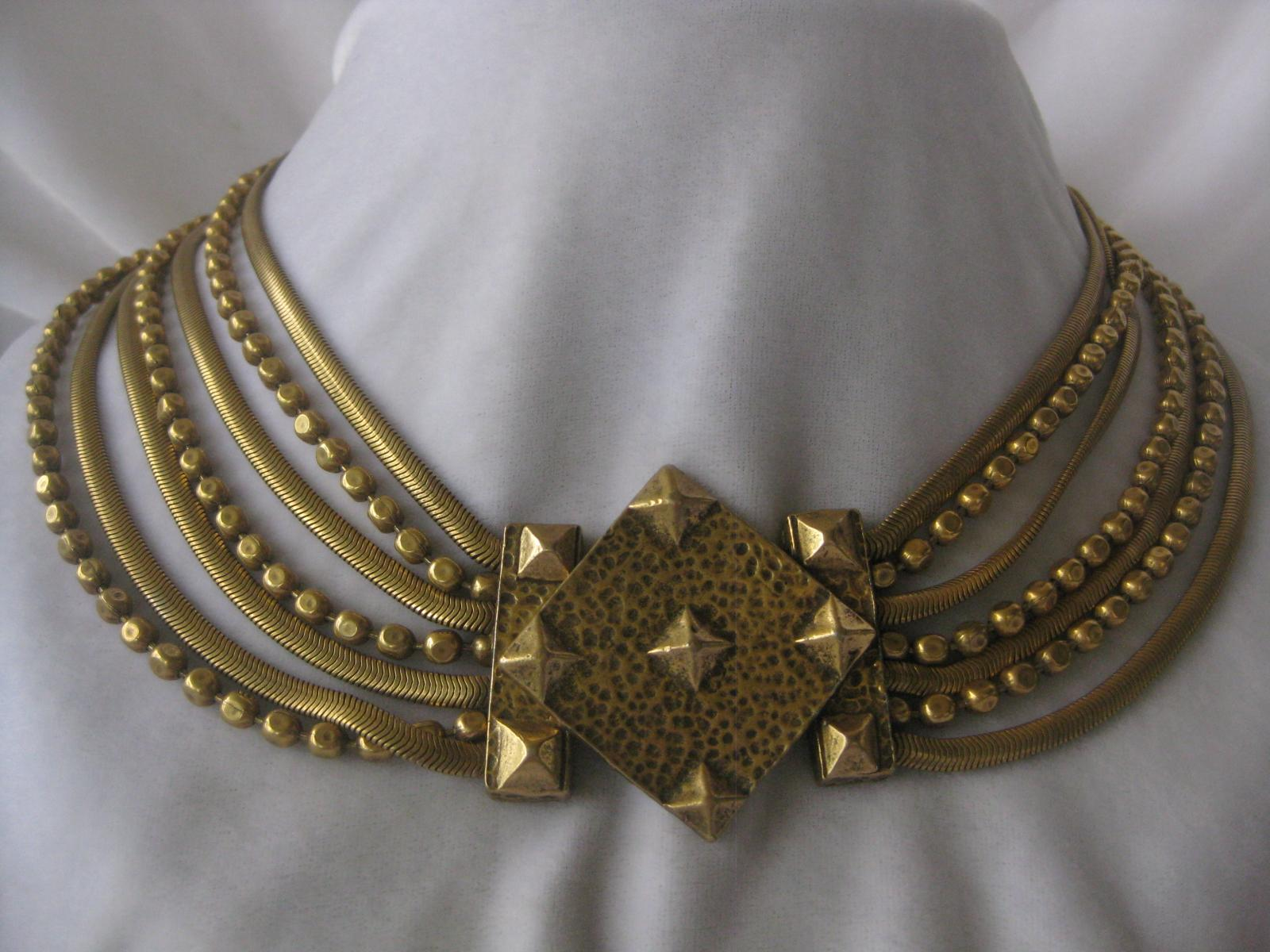 Beautiful Heavy Vintage Brass Chains Necklace
