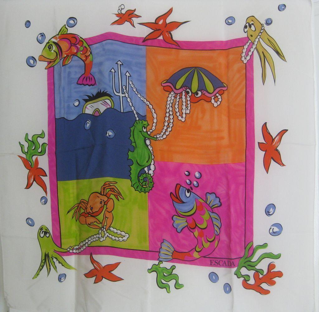 "Vintage ESCADA Under The Sea Whimsical 34"" Scarf"