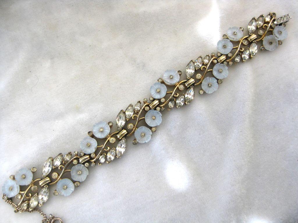 JOMAZ Molded Glass Flowers & Rhinestones Stunning Bracelet