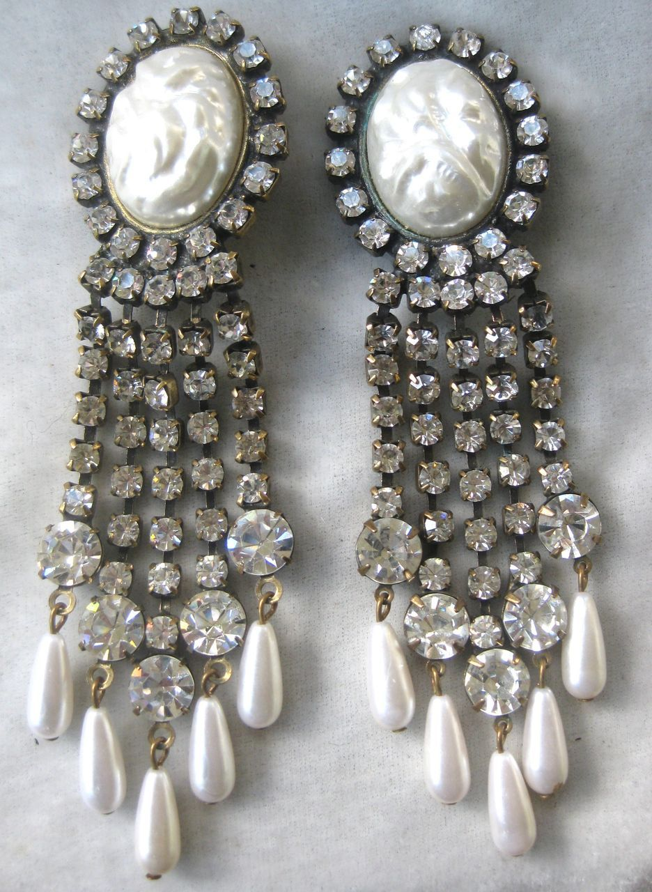 Unsigned kjl rhinestones faux pearls chandelier earrings unsigned kjl rhinestones faux pearls chandelier earrings vintage jewelry too ruby lane arubaitofo Choice Image