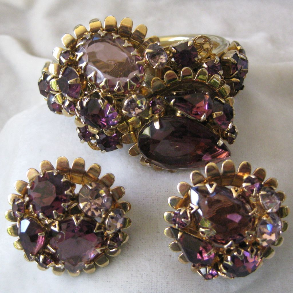 Huge Purple Glass Stones Cluster Cuff Bracelet Demi Parure