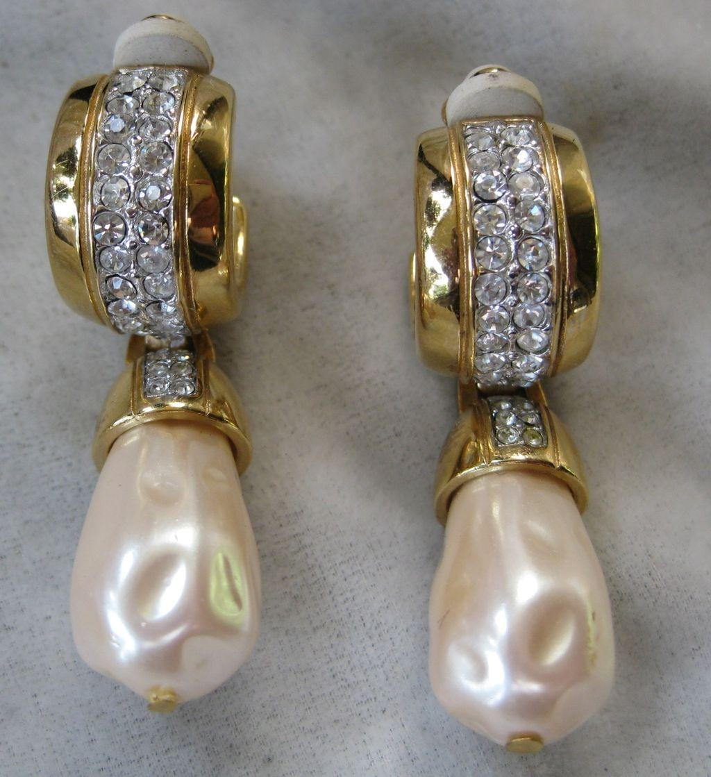Vintage GIVENCHY Rhinestone & Pearl Beautiful Earrings