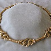 Christian DIOR Rhinestones & Gold Tone Vintage Necklace