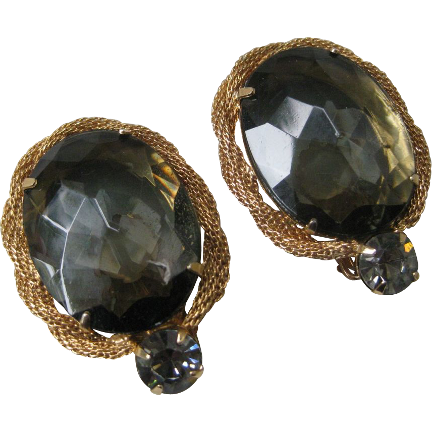 Vintage Large Smokey Topaz Glass Earrings