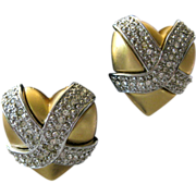 Unsigned Givenchy Rhinestones Hearts Earrings