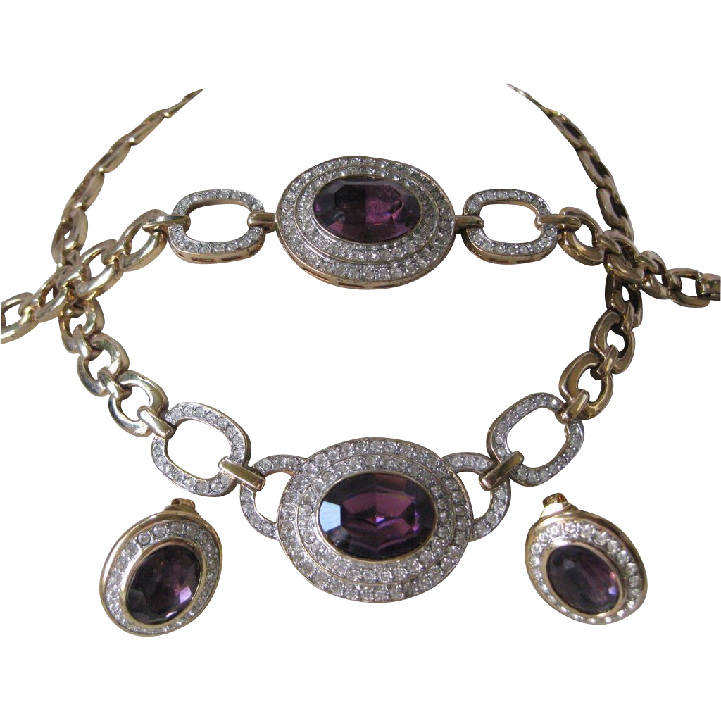 PISCITELLI Purple Glass & Rhinestones Necklace Earrings & Bracelet Parure