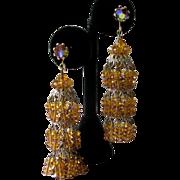 Stunning Shimmering Vintage Citrine Glass Chandelier Earrings