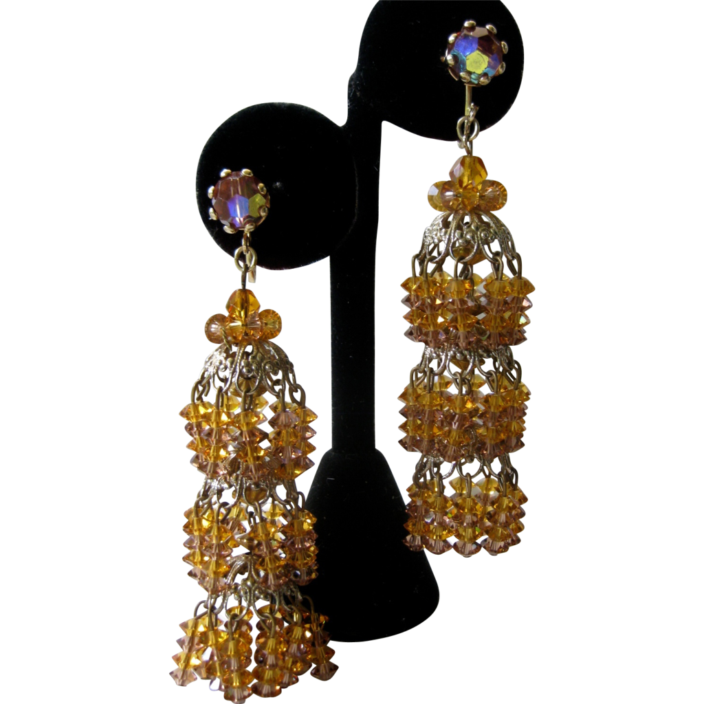 Stunning Shimmering Vintage Citrine Glass Chandelier Earrings