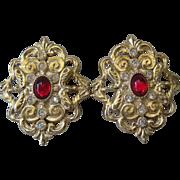 WHITING & DAVIS Red & Rhinestones Vintage Earrings