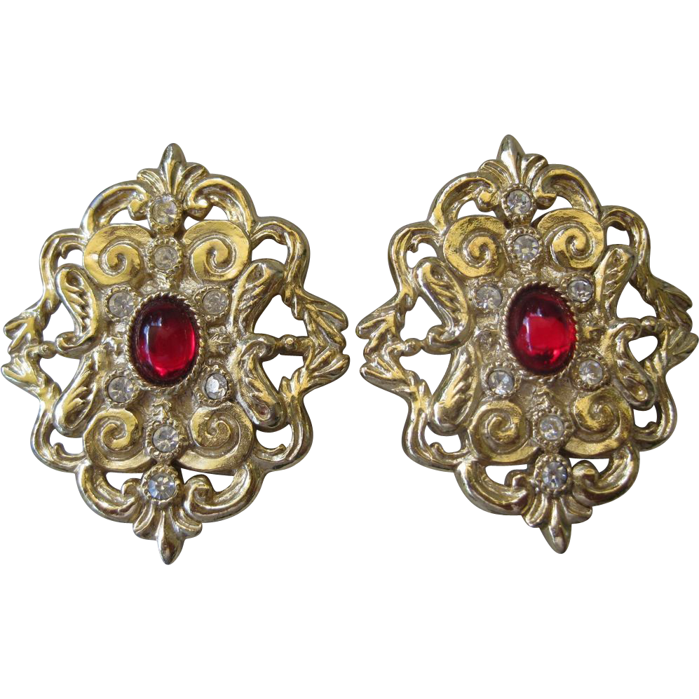 WHITING & DAVIS Red & Rhinestones Vintage Earrings
