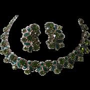 WEISS Green Enamel & Rhinestones Necklace & Earrings Set