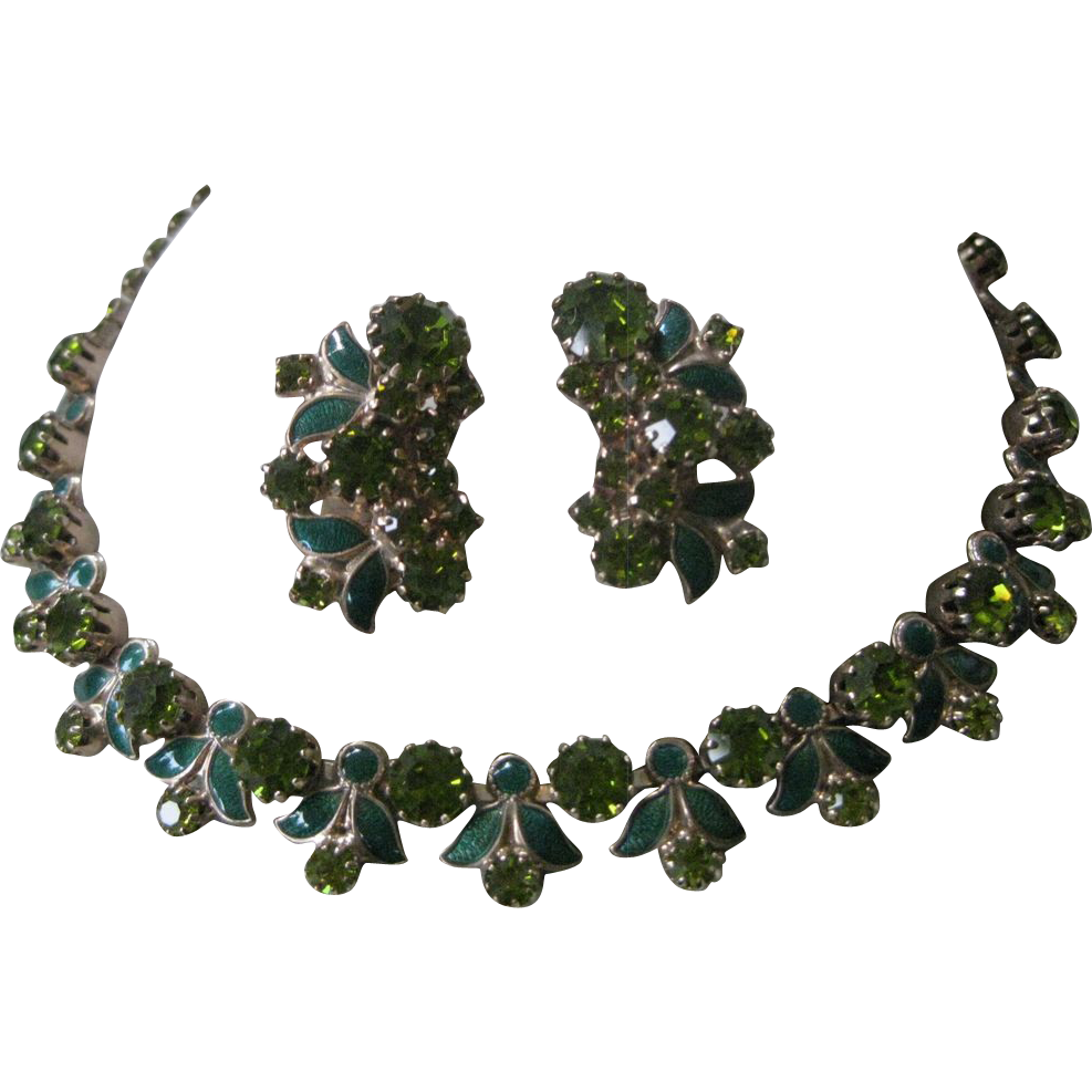 WEISS Green Enamel & Rhinestones Necklace & Earrings Set