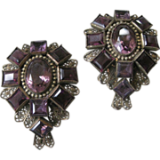 Gorgeous Vintage Purple Glass Fur clips Set
