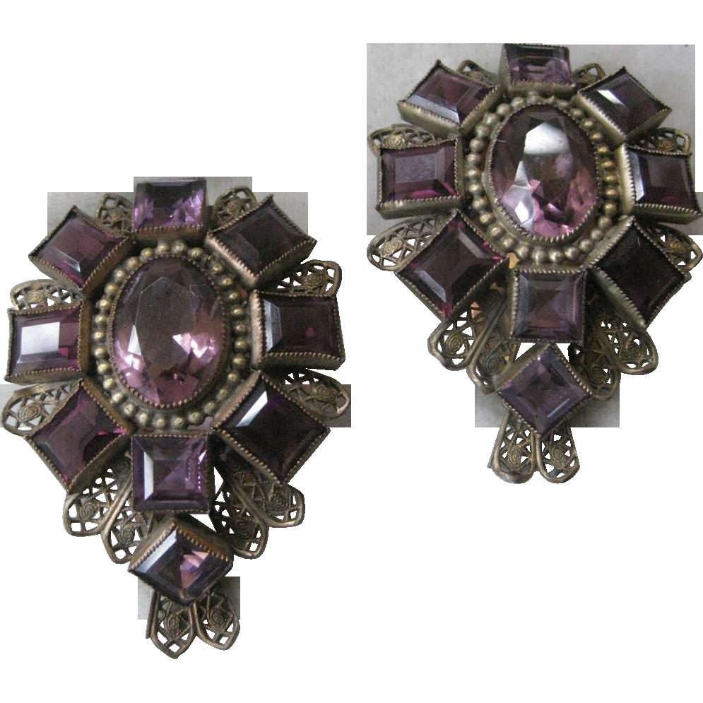 Gorgeous Vintage Purple Glass Fur clips Set